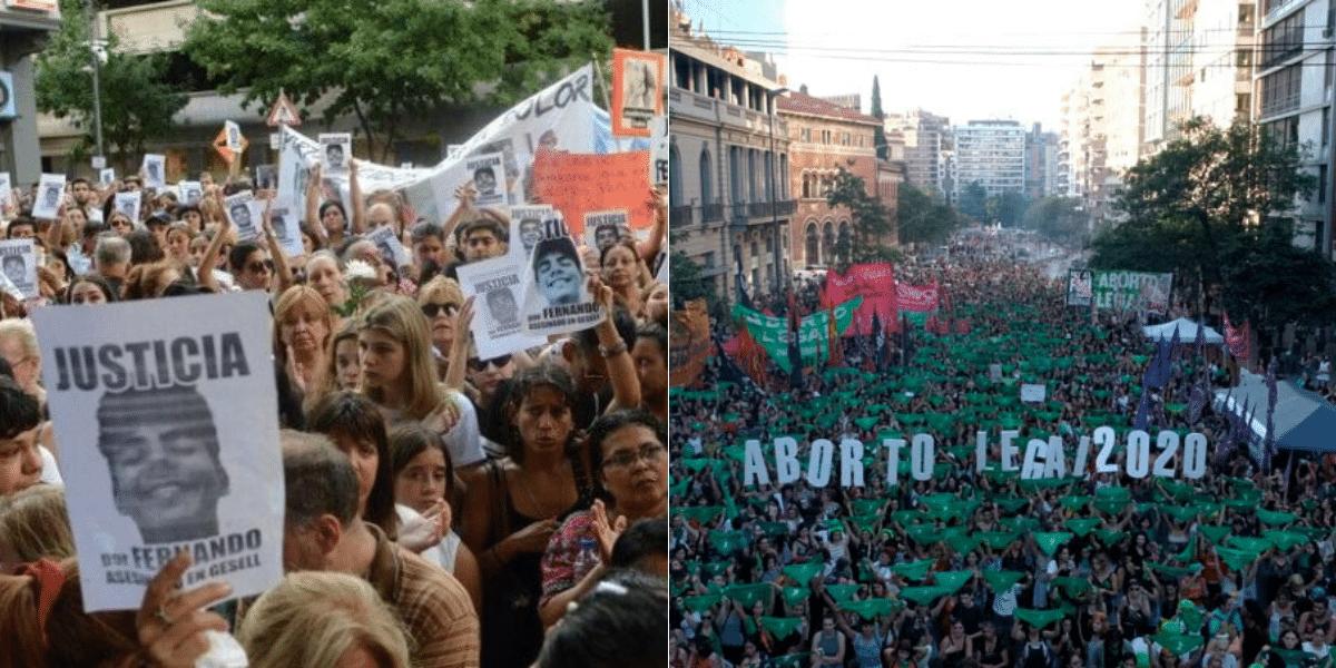 En las redes, el pañuelazo verde logró más interés que la marcha por Fernando Báez Sosa